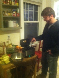 Trusty Roommate Chad served as FryMaster for the evening.