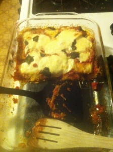 I'd just like to direct your attention to how well it held together. Prefect cuts of eggplant parm!