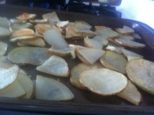 Taters. Snack on a few just to make sure they're cooked.