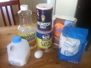 Everything we need for homemade corn bread.