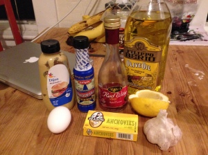 Olive oil, red wine vinegar, worcestershire sauce, dijon mustard, lemon, garlic, egg.